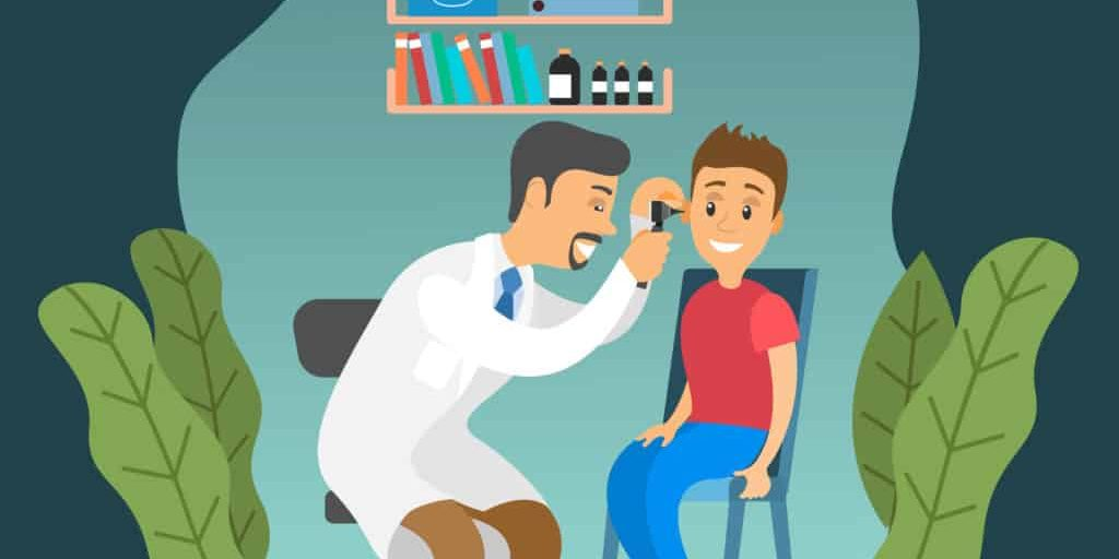 The otolaryngologist looks at the child. Doctor and kid characters on medical examination